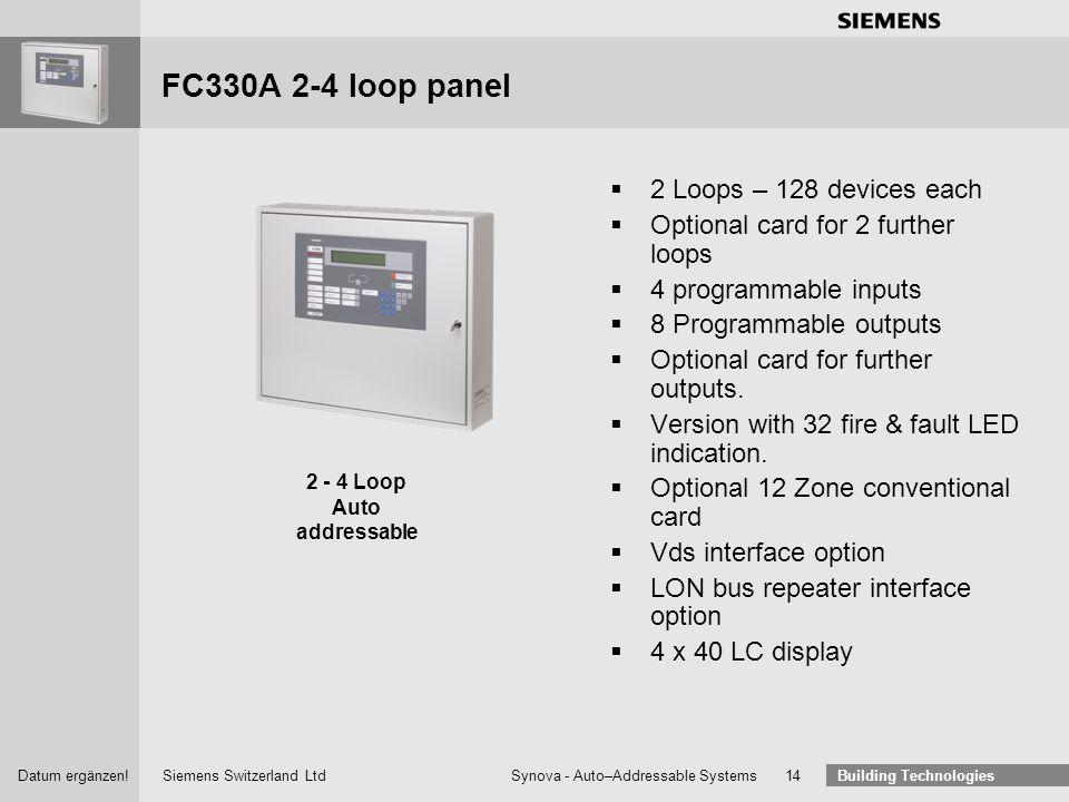 Siemens Switzerland Ltd Building Technologies Datum ergänzen! Synova - Auto–Addressable Systems 13 FC330A-ECO1 single loop economy panel 1 Loop – 128