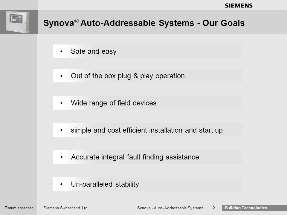 Building Technologies Auto–Addressable Systems