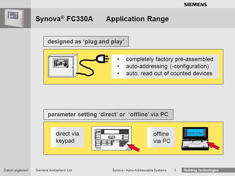 Siemens Switzerland Ltd Building Technologies Datum ergänzen! Synova - Auto–Addressable Systems 4 Synova ® FC330AApplication Range The complete produc