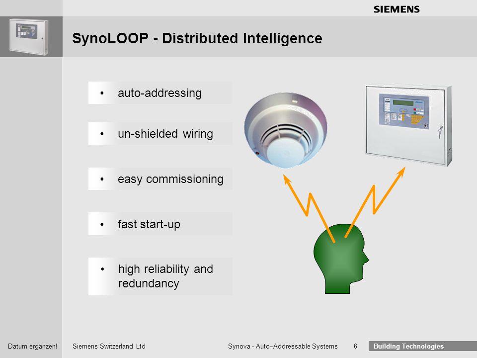 Siemens Switzerland Ltd Building Technologies Datum ergänzen! Synova - Auto–Addressable Systems 5 Synova ® FC330AApplication Range SWE330A direct via