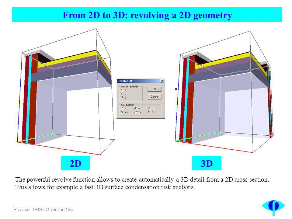 Physibel TRISCO version 12w From 2D to 3D: revolving a 2D geometry The powerful revolve function allows to create automatically a 3D detail from a 2D