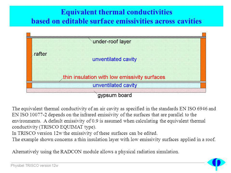 Physibel TRISCO version 12w Equivalent thermal conductivities based on editable surface emissivities across cavities The equivalent thermal conductivi
