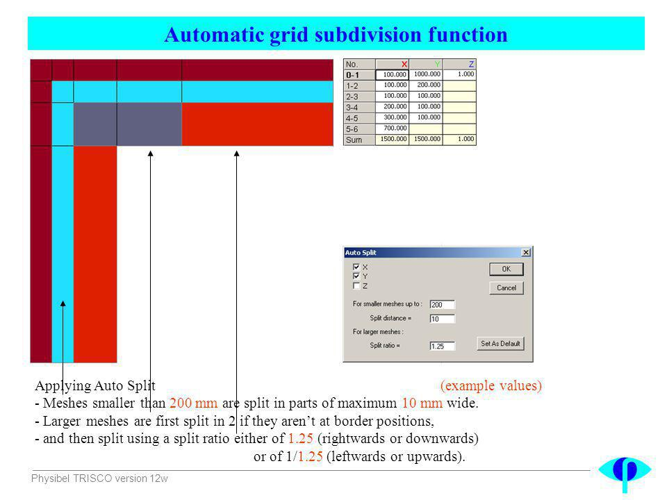 Physibel TRISCO version 12w Applying Auto Split (example values) - Meshes smaller than 200 mm are split in parts of maximum 10 mm wide. - Larger meshe