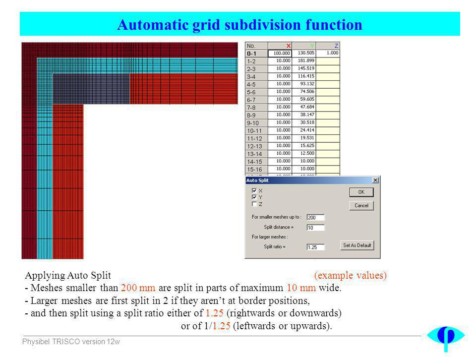 Physibel TRISCO version 12w Automatic grid subdivision function Applying Auto Split (example values) - Meshes smaller than 200 mm are split in parts o