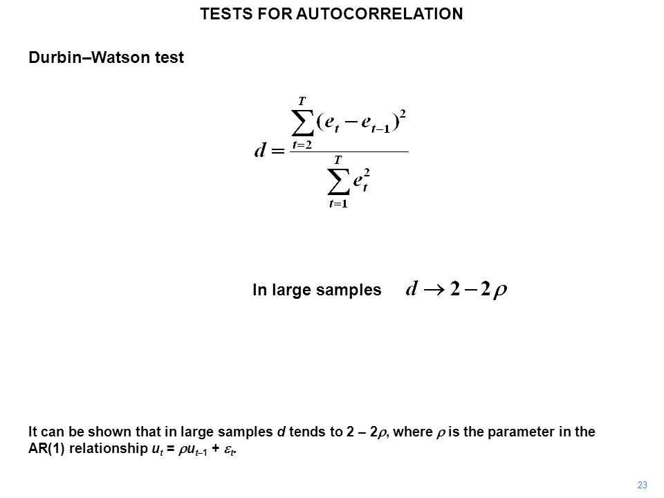 23 It can be shown that in large samples d tends to 2 – 2, where is the parameter in the AR(1) relationship u t = u t–1 + t. TESTS FOR AUTOCORRELATION