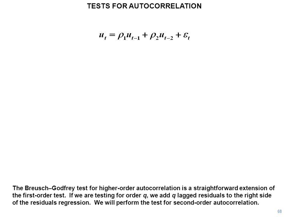 68 The Breusch–Godfrey test for higher-order autocorrelation is a straightforward extension of the first-order test.
