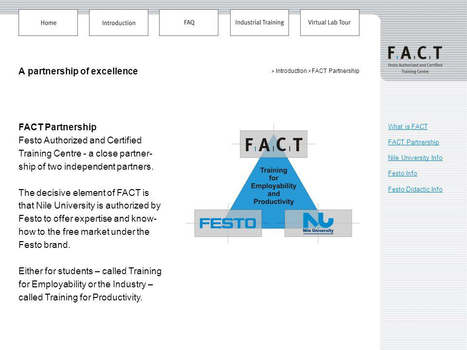 > Introduction > FACT Partnership A partnership of excellence What is FACT FACT Partnership Nile University Info Festo Info Festo Didactic Info FACT Partnership Festo Authorized and Certified Training Centre - a close partner- ship of two independent partners.