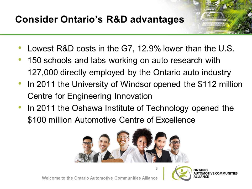Consider Ontarios R&D advantages Lowest R&D costs in the G7, 12.9% lower than the U.S. 150 schools and labs working on auto research with 127,000 dire