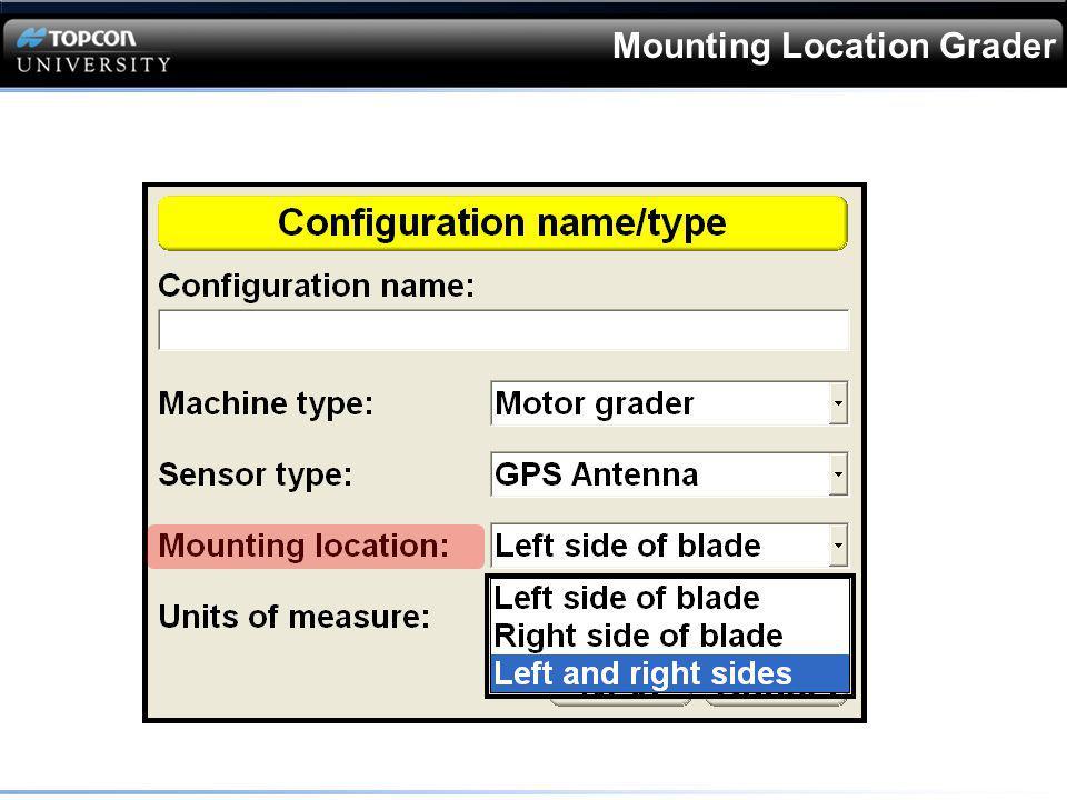 Dozer Sensor Selection Select the appropriate sensor
