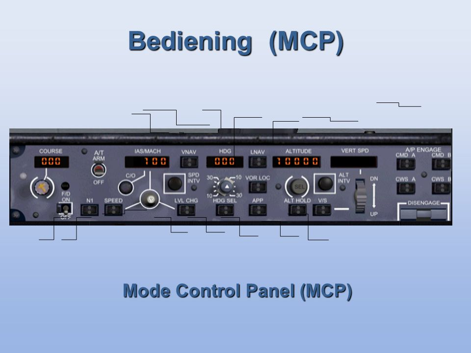 Bediening (MCP) Mode Control Panel (MCP)