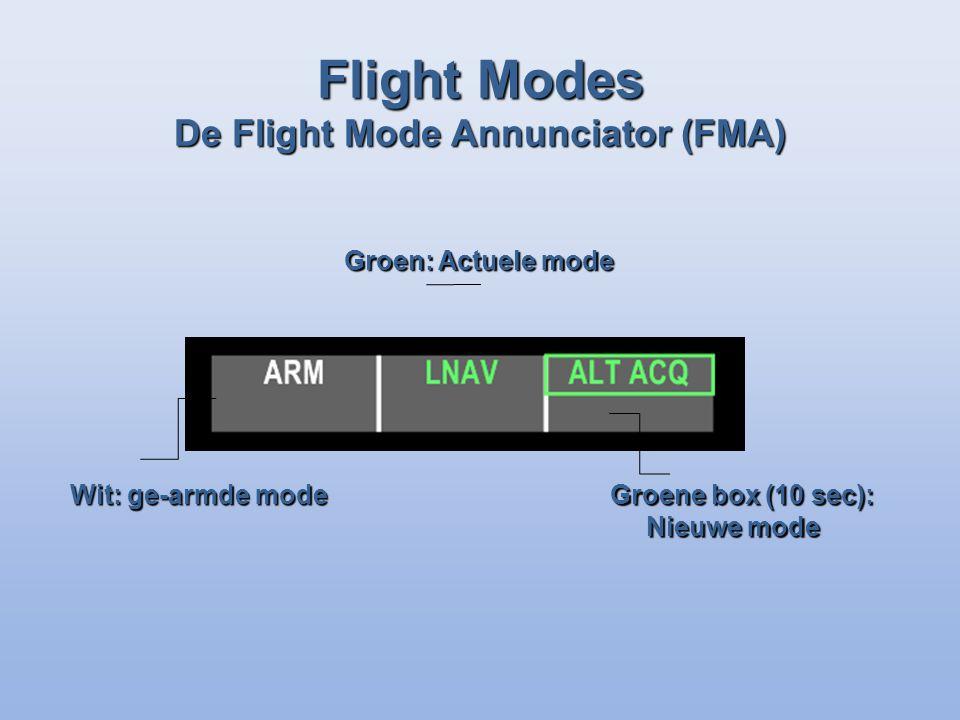 Wit: ge-armde mode Groen: Actuele mode Groene box (10 sec): Nieuwe mode Flight Modes De Flight Mode Annunciator (FMA)
