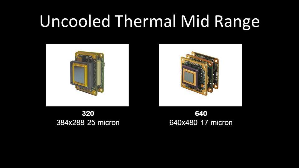 Uncooled Thermal Mid Range 320 384x288 25 micron 640 640x480 17 micron