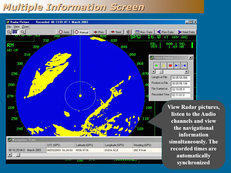 Multiple Information Screen View Radar pictures, listen to the Audio channels and view the navigational information simultaneously.