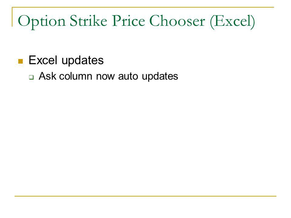 Option Strike Price Chooser (Excel) Excel updates Ask column now auto updates