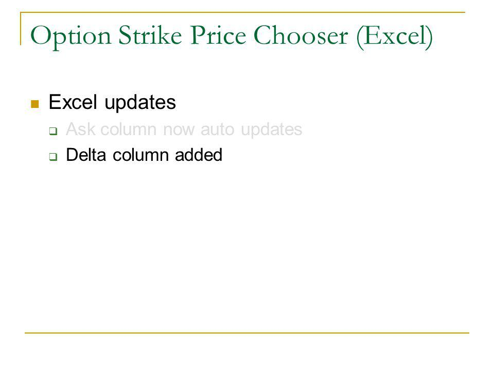Excel updates Ask column now auto updates Delta column added