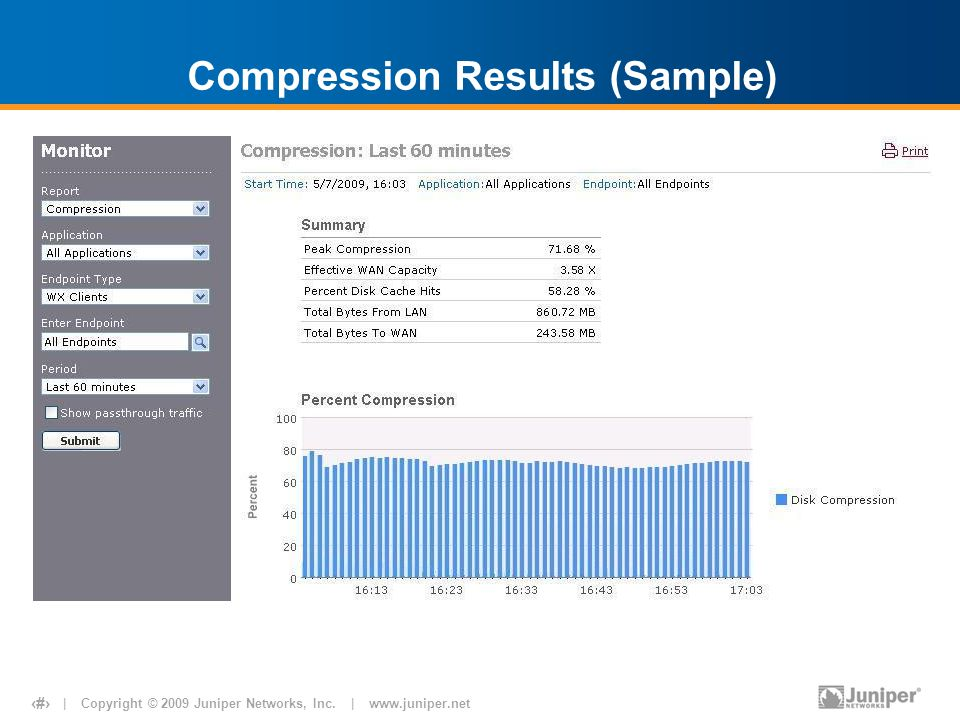 | Copyright © 2009 Juniper Networks, Inc. | www.juniper.net 9 Compression Results (Sample)