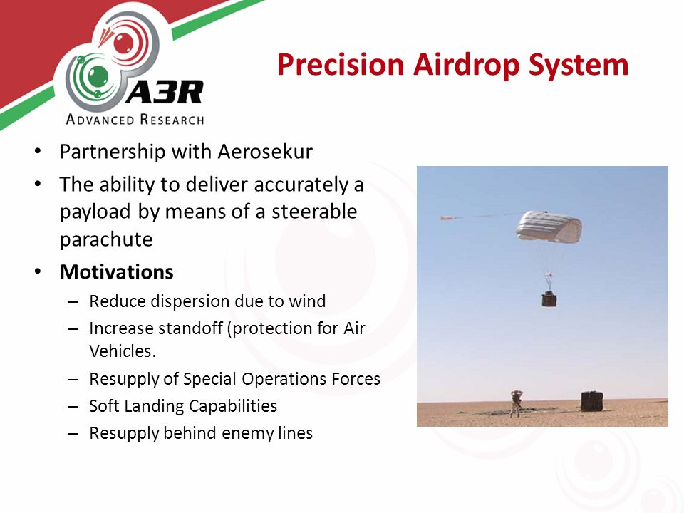 Precision Airdrop System Partnership with Aerosekur The ability to deliver accurately a payload by means of a steerable parachute Motivations – Reduce dispersion due to wind – Increase standoff (protection for Air Vehicles.