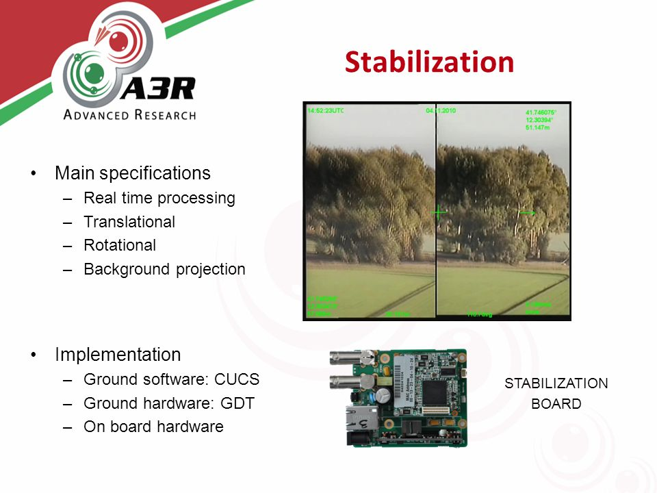 Stabilization Main specifications –Real time processing –Translational –Rotational –Background projection Implementation –Ground software: CUCS –Ground hardware: GDT –On board hardware STABILIZATION BOARD