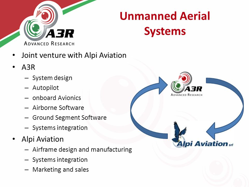 Unmanned Aerial Systems Joint venture with Alpi Aviation A3R – System design – Autopilot – onboard Avionics – Airborne Software – Ground Segment Software – Systems integration Alpi Aviation – Airframe design and manufacturing – Systems integration – Marketing and sales