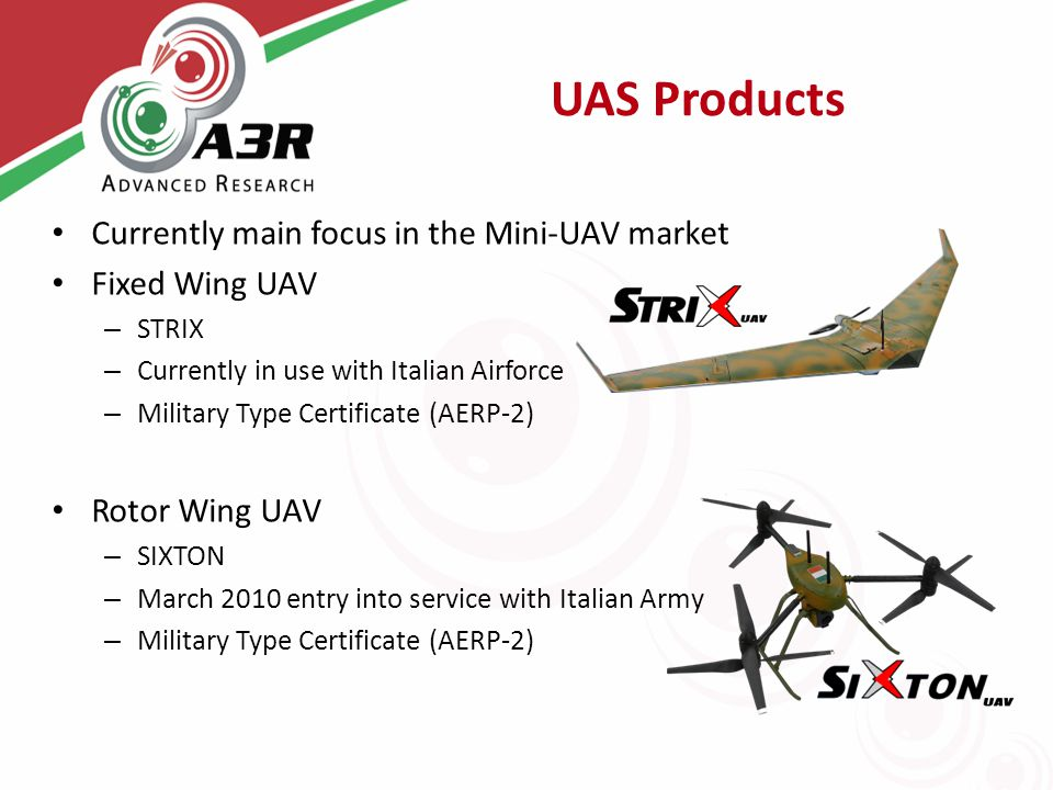 UAS Products Currently main focus in the Mini-UAV market Fixed Wing UAV – STRIX – Currently in use with Italian Airforce – Military Type Certificate (AERP-2) Rotor Wing UAV – SIXTON – March 2010 entry into service with Italian Army – Military Type Certificate (AERP-2)