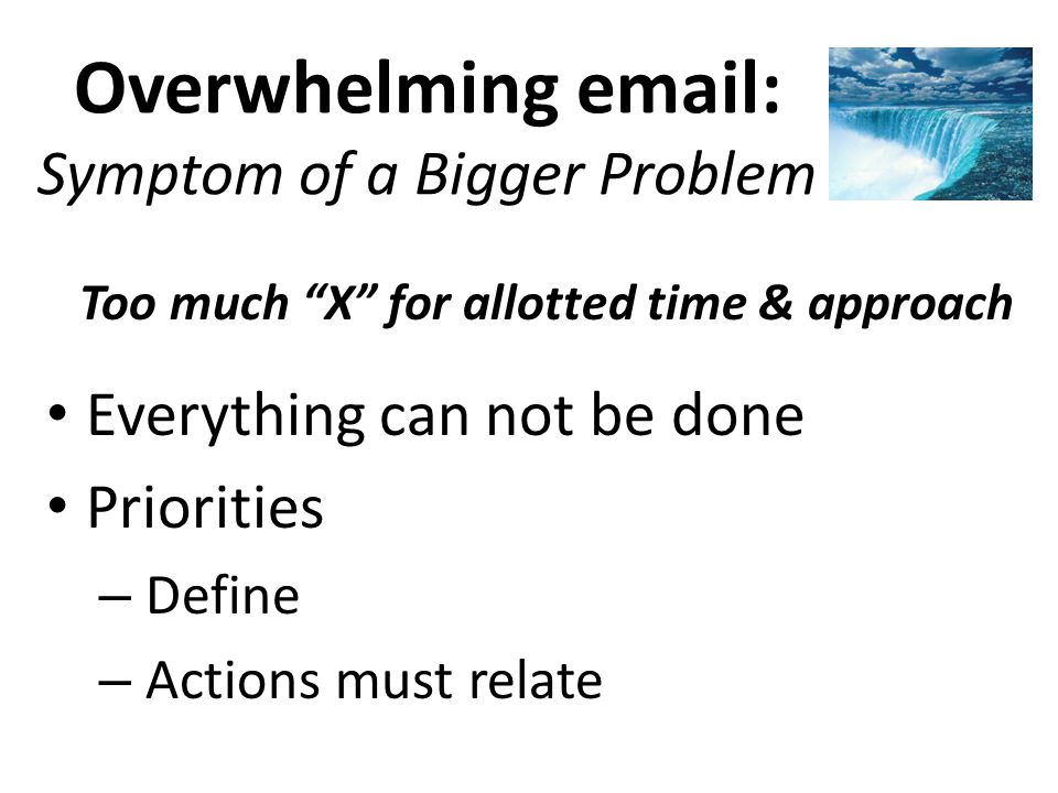 Overwhelming email: Symptom of a Bigger Problem Too much X for allotted time & approach Everything can not be done Priorities – Define – Actions must