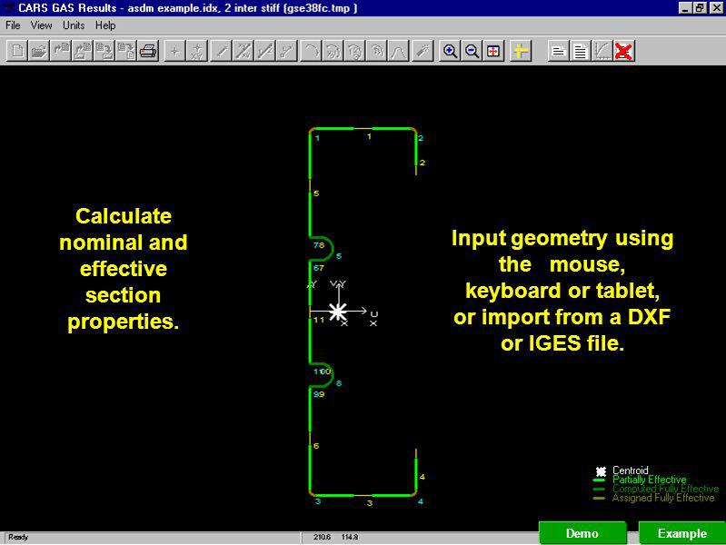 Perform interactive design procedures as presented in the manual. Example Demo