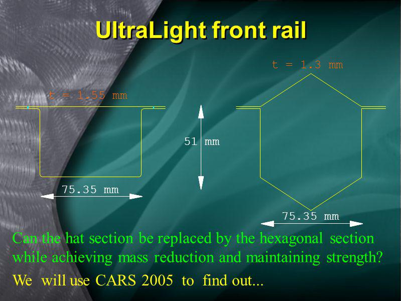 The front rail and its connection to the body have a great influence on load transfer. A new UltraLight front rail was created to improve the load tra