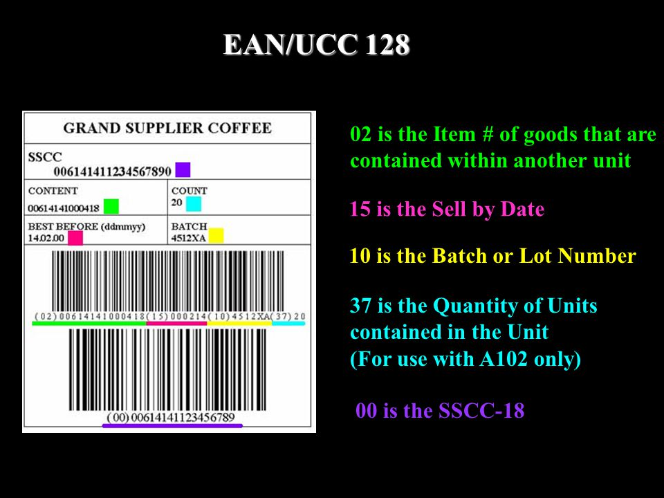 02 is the Item # of goods that are contained within another unit 15 is the Sell by Date 10 is the Batch or Lot Number 37 is the Quantity of Units cont