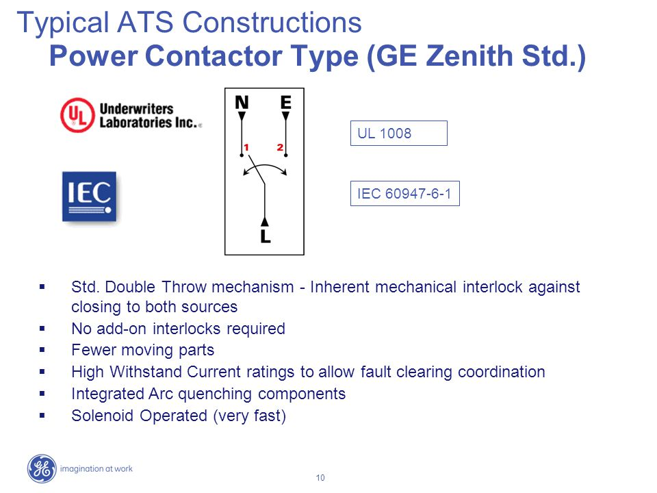 10 Typical ATS Constructions Power Contactor Type (GE Zenith Std.) UL 1008 IEC 60947-6-1 Std. Double Throw mechanism - Inherent mechanical interlock a