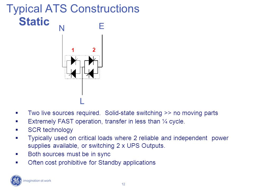 12 Typical ATS Constructions Static Two live sources required. Solid-state switching >> no moving parts Extremely FAST operation, transfer in less tha