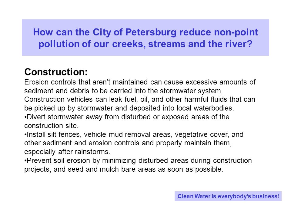 How can the City of Petersburg reduce non-point pollution of our creeks, streams and the river.