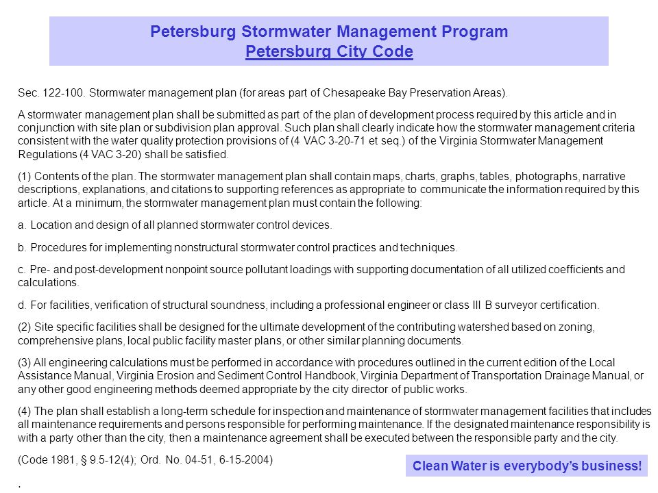 Petersburg Stormwater Management Program State Law Clean Water is everybodys business.
