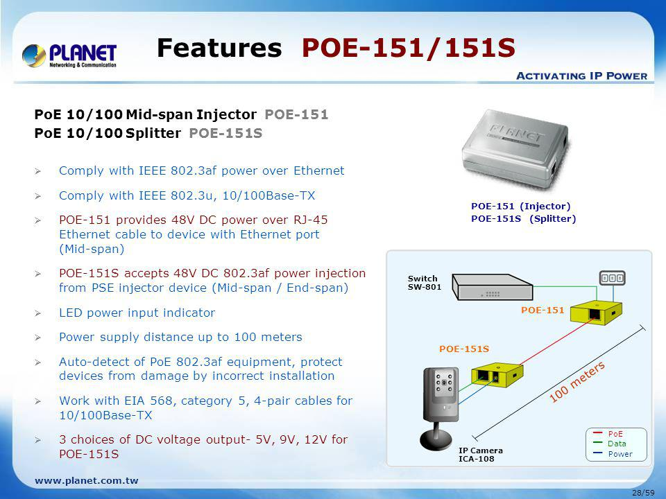 www.planet.com.tw 28/59 Features POE-151/151S PoE 10/100 Mid-span Injector POE-151 PoE 10/100 Splitter POE-151S Comply with IEEE 802.3af power over Et