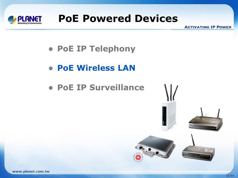 www.planet.com.tw 34/59 PoE Powered Devices PoE IP Telephony PoE Wireless LAN PoE IP Surveillance