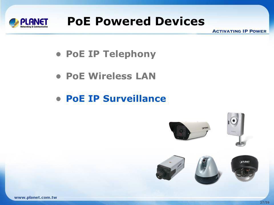 www.planet.com.tw 37/59 PoE Powered Devices PoE IP Telephony PoE Wireless LAN PoE IP Surveillance