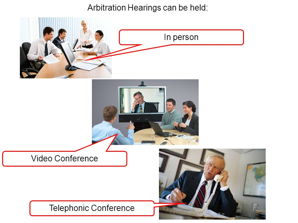 Arbitration Hearings can be held: In person Video Conference Telephonic Conference