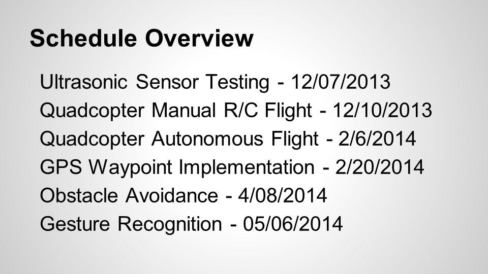 Schedule Overview Ultrasonic Sensor Testing - 12/07/2013 Quadcopter Manual R/C Flight - 12/10/2013 Quadcopter Autonomous Flight - 2/6/2014 GPS Waypoint Implementation - 2/20/2014 Obstacle Avoidance - 4/08/2014 Gesture Recognition - 05/06/2014