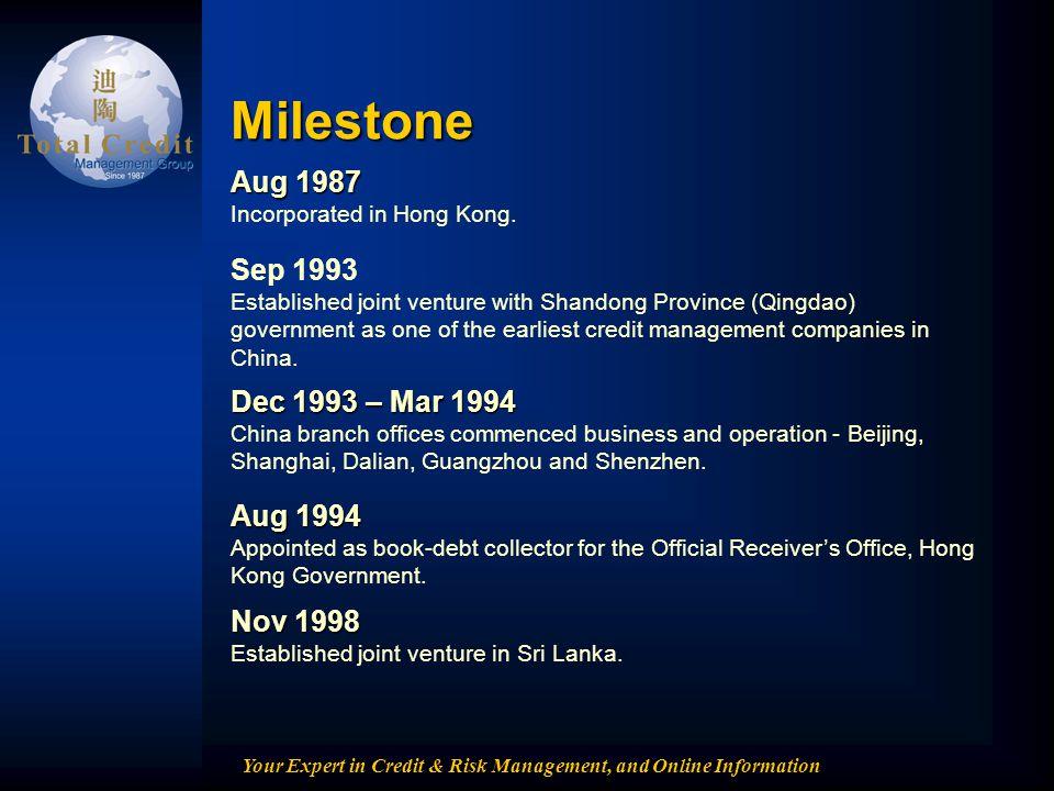 Your Expert in Credit & Risk Management, and Online Information Milestone Nov 1998 Nov 1998 Established joint venture in Sri Lanka. Aug 1994 Aug 1994