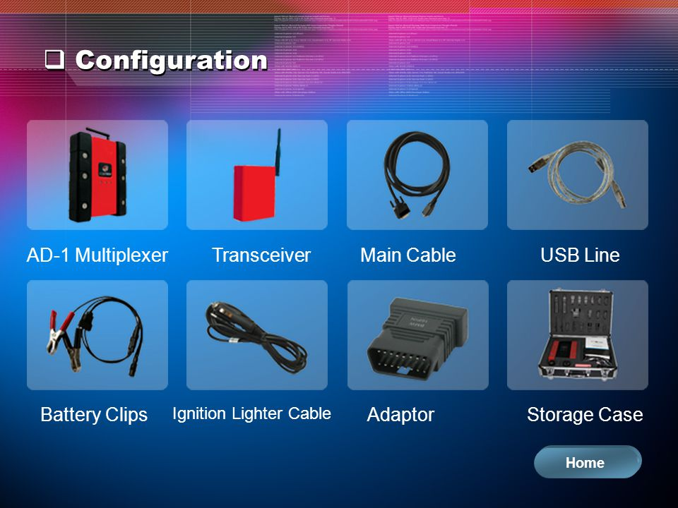 Configuration AD-1 MultiplexerTransceiverMain CableUSB Line Battery Clips Ignition Lighter Cable AdaptorStorage Case Home