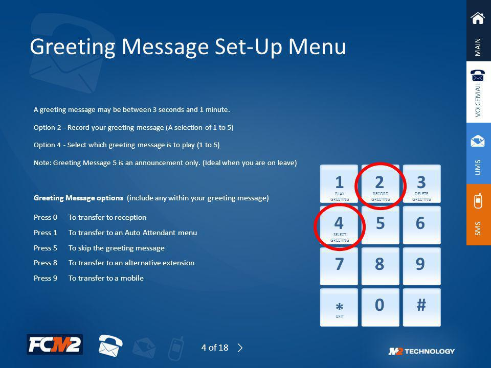 MAIN VOICEMAIL UMS SMS Greeting Message Set-Up Menu A greeting message may be between 3 seconds and 1 minute. Option 2 - Record your greeting message