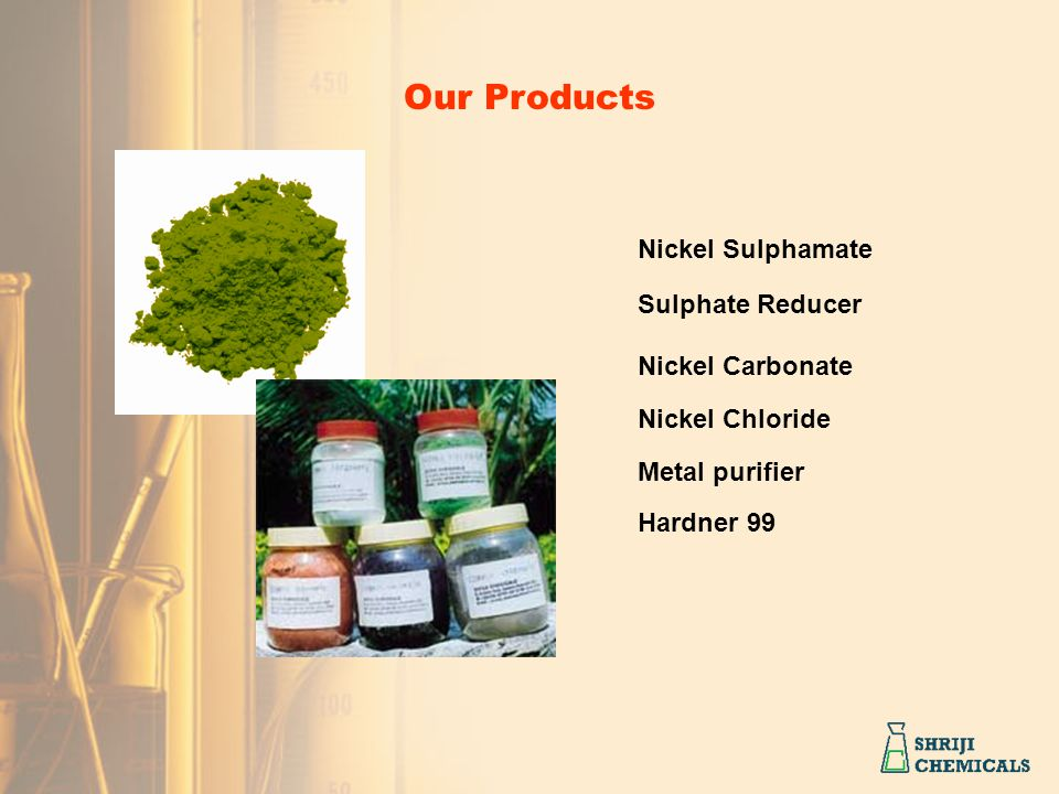 Our Products Nickel Sulphamate Nickel Carbonate Nickel Chloride Sulphate Reducer Hardner 99 Metal purifier