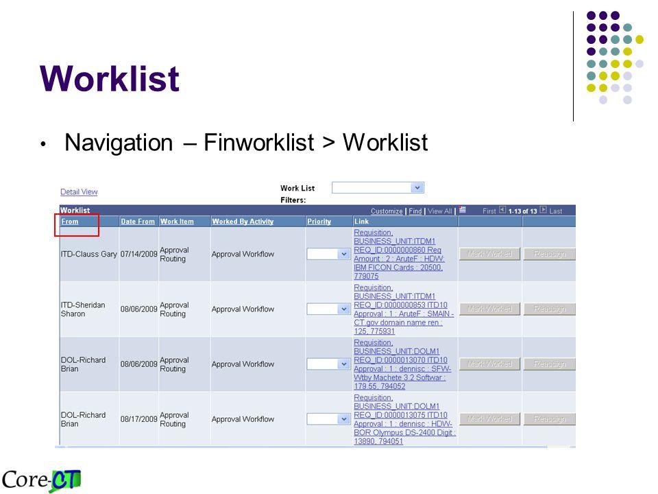 Worklist Navigation – Finworklist > Worklist
