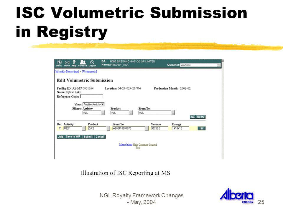 NGL Royalty Framework Changes - May, 200425 ISC Volumetric Submission in Registry Illustration of ISC Reporting at MS