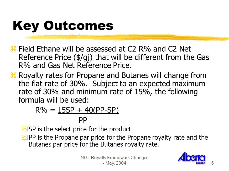 NGL Royalty Framework Changes - May, 20046 Key Outcomes zField Ethane will be assessed at C2 R% and C2 Net Reference Price ($/gj) that will be differe