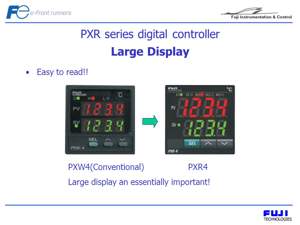 Large Display Easy to read!. PXW4(Conventional) PXR4 Large display an essentially important.