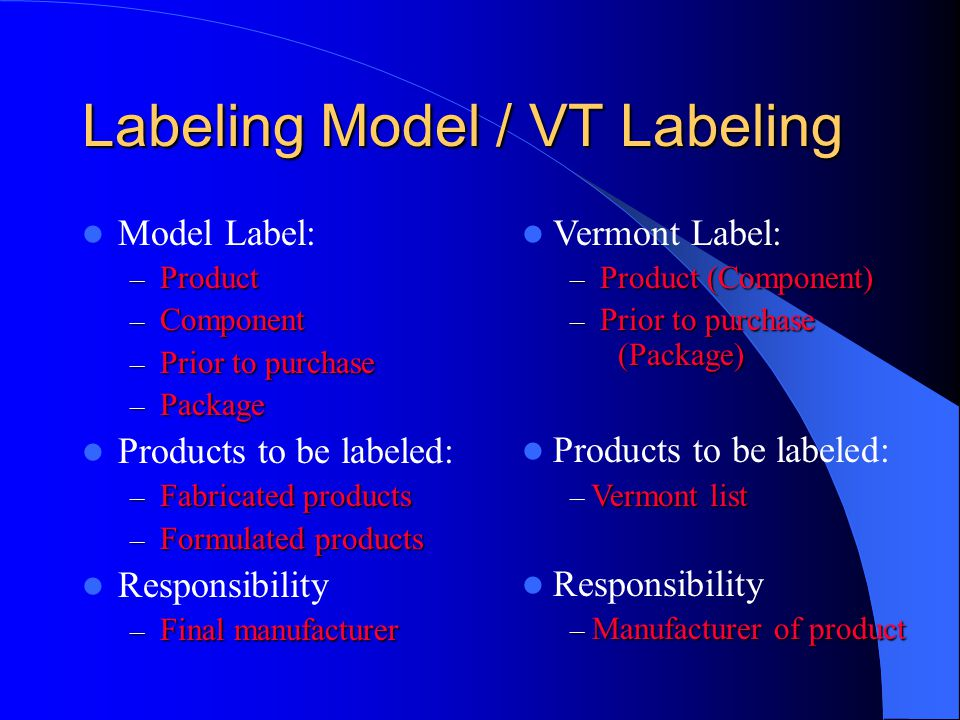 Labeling Model / VT Labeling Model Label: – Product – Component – Prior to purchase – Package Products to be labeled: – Fabricated products – Formulated products Responsibility – Final manufacturer Vermont Label: – Product (Component) – Prior to purchase (Package) Products to be labeled: Vermont list – Vermont list Responsibility – Manufacturer of product