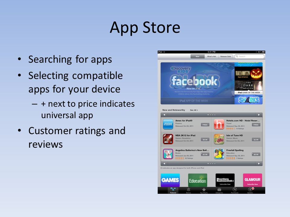 App Store Searching for apps Selecting compatible apps for your device – + next to price indicates universal app Customer ratings and reviews