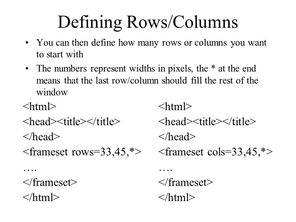 Defining Rows/Columns You can then define how many rows or columns you want to start with The numbers represent widths in pixels, the * at the end mea