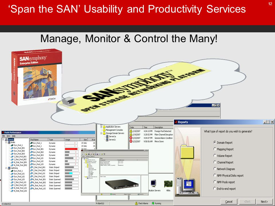 12 Span the SAN Usability and Productivity Services Manage, Monitor & Control the Many!