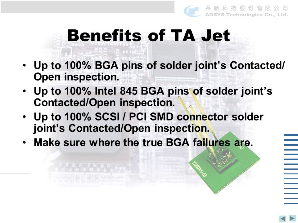 Benefits of TA Jet Up to 100% BGA pins of solder joints Contacted/ Open inspection.